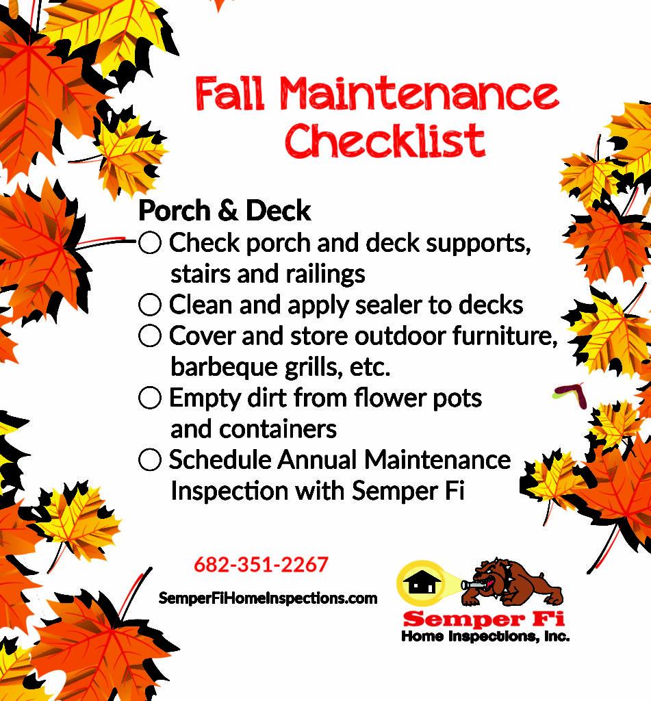 fall maintenance checklist porch and deck