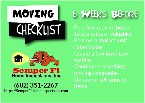 Moving Checklist – 6 Weeks Before Move