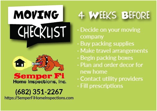 Moving Checklist – 4 Weeks Before Move
